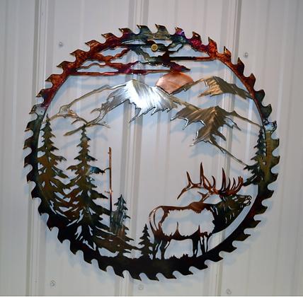 Sawblade Metal Art Mountain Elk