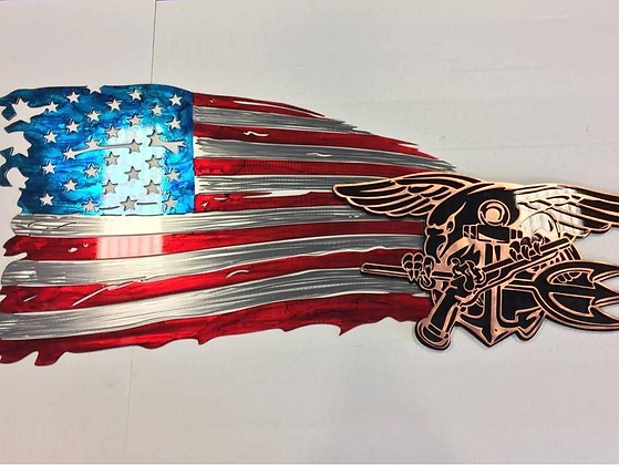 Tattered Flag w/Navy Seal Trident Logo...(3 Sizes Available)
