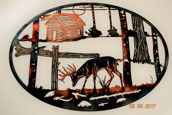 Should have stayed at the Cabin-Whitetail Metal Art