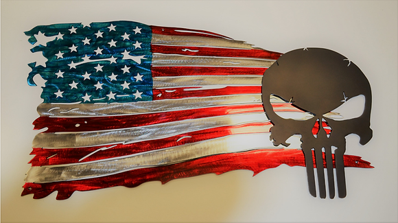 Tattered American Flag with Punisher...(6 Sizes Available)
