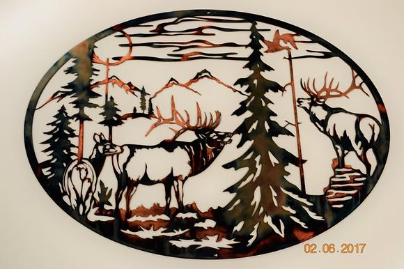 Bugle Boys -Elk Metal Art