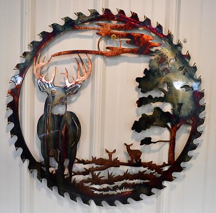 Sawblade Metal Art Deer Alert at Dusk