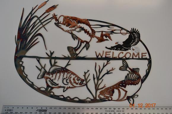 Fishermans Welcome-Fishing Metal Art