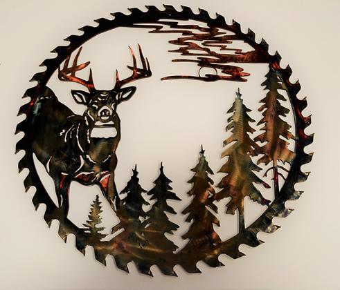 Sawblade Metal Art Forest Buck