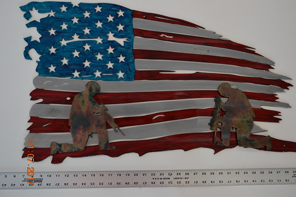 American Flag Art With Soldiers...(5 Sizes Available)