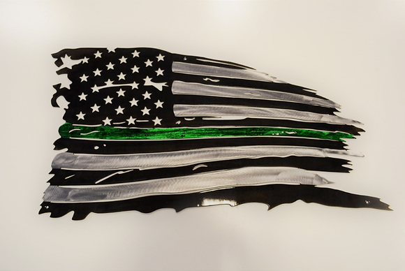 Tattered Flag Thin Green Line (Game Warden Metal Art)...(6 Sizes Available)