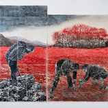 Subterrestrial 2020, woodcut, rubbing, color pencil, dry brushon handmade Kozo & Abacapaper, 80 x 91.5 in