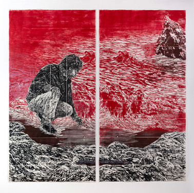 Eluvium 2020, woodcut, rubbing, ink on hand made Kozo & Abaca Paper, 200 x 100 cm, 80 x 40 in
