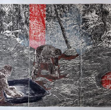 Ramifications 2018, Woodcut, Rubbing, pencil, ink, on Handmade Kozo & Abaca Paper 80 x 120 in