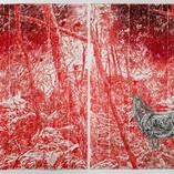 Hinterland2020, Woodcut on Handmade Kozo & Abaca Paper 71 x 103 in