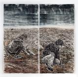 Subterranean 2020 , woodcut, rubbing, color pencil, on handmade Kozo & Abacapaper,80 x 80 in