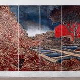 Emerge 2018, Carved Birchwood, Ink 80 x 97 in