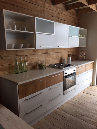 Industrial Kitchen, a combination of ducoed supawood and driftwood pine. Price on Request