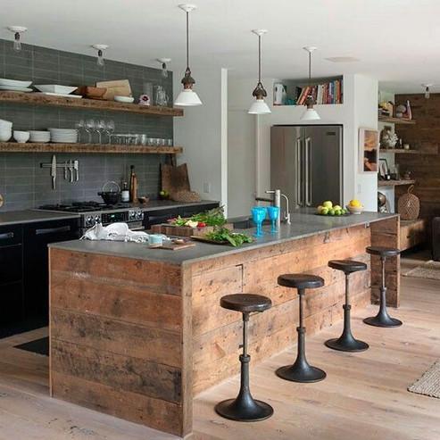 Industrial Cratewood kitchen with black ducoed door frontals and engineered granite worktops. Price on Request