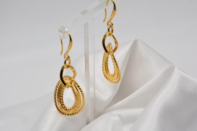 Brass Specchio Godronato Gold Orecchini