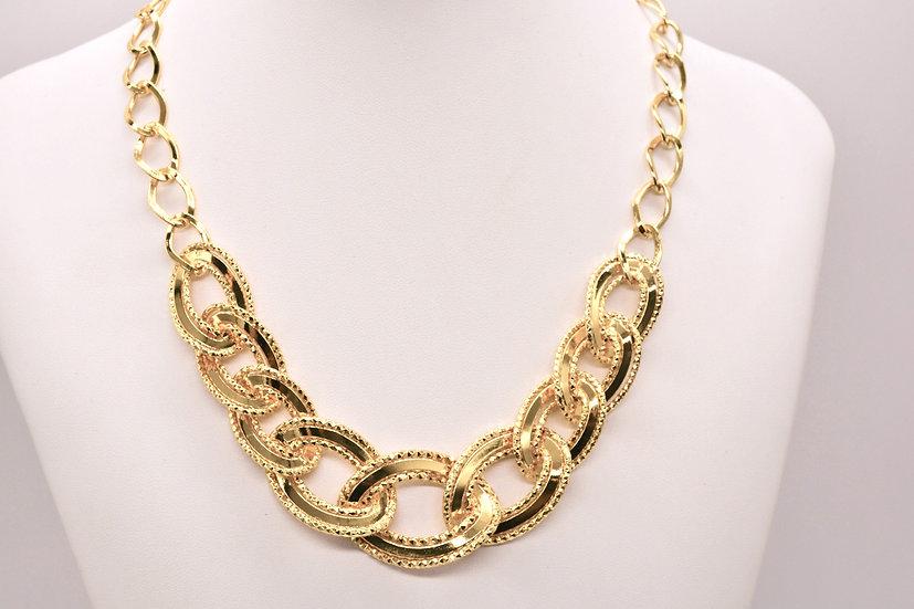 Brass Specchio godronato Gold collana