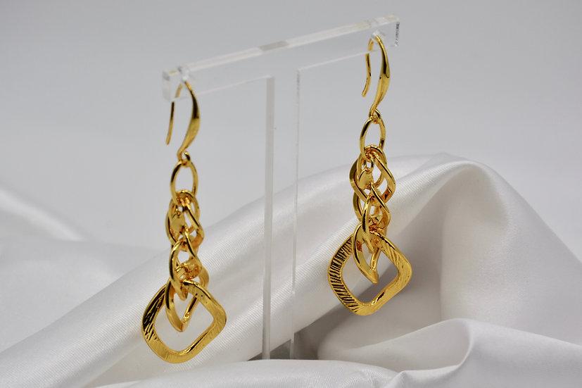 Brass Rombo Raggiata Gold Orecchini