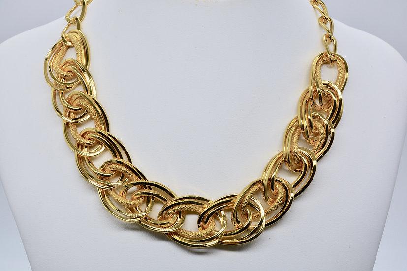 Brass Intrecciata diamantata Gold Collana