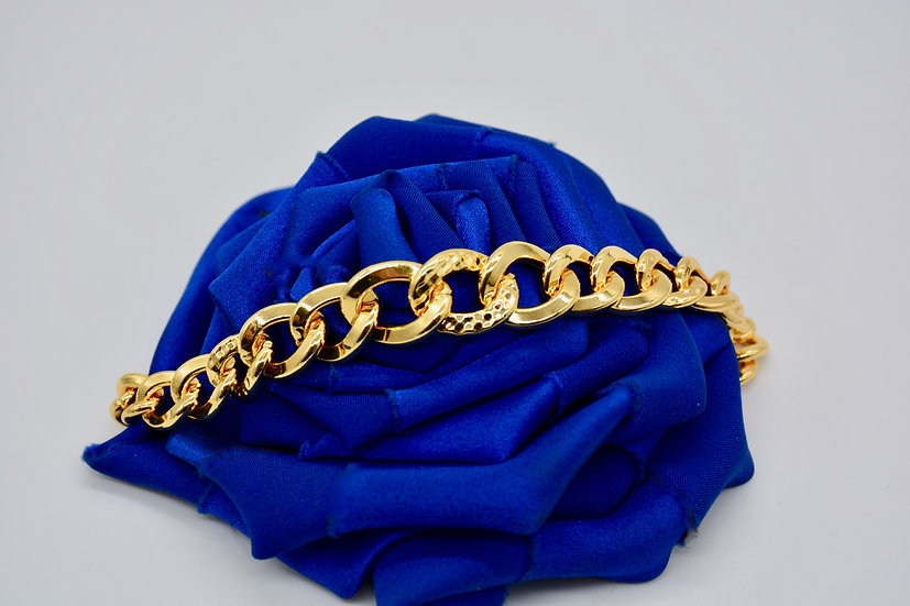 Brass Grumetta quadrettata Gold Bracciale