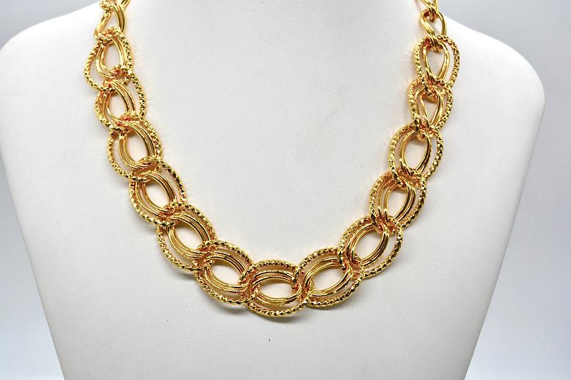 Brass Diamantata ovale Gold Collana