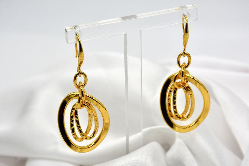 Brass Gemella Bugnata Gold Orecchini