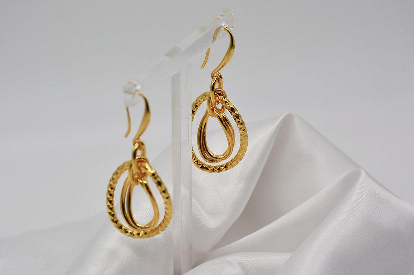 Brass Diamantata Ovale Gold Orecchini