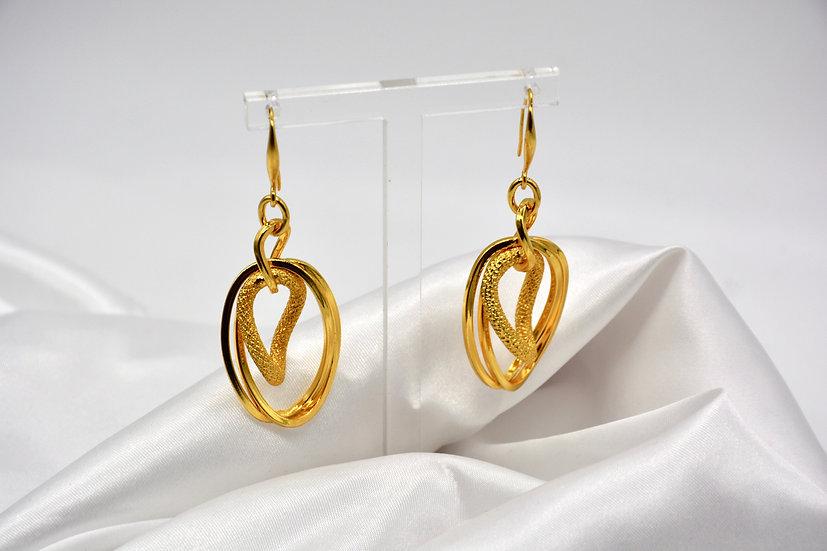 Brass Intrecciata Diamantata Gold Orecchini