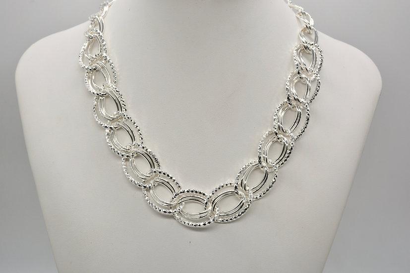 Brass Diamantata Ovale Silver Collana