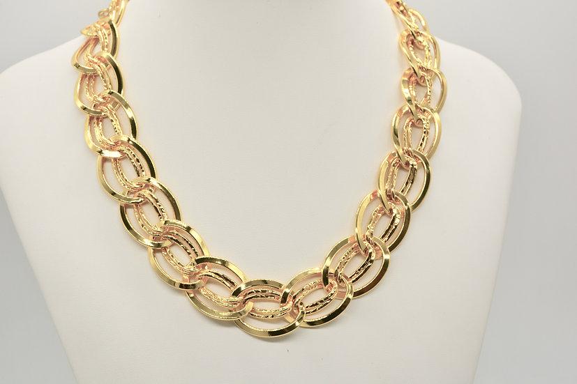 Brass Gemella bugnata Gold Collana