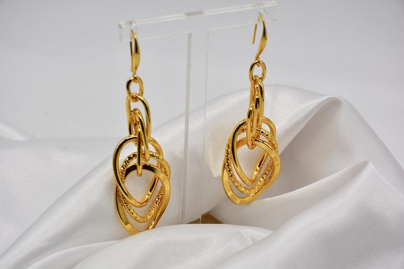 Brass Tripla Girata Gold Orecchini