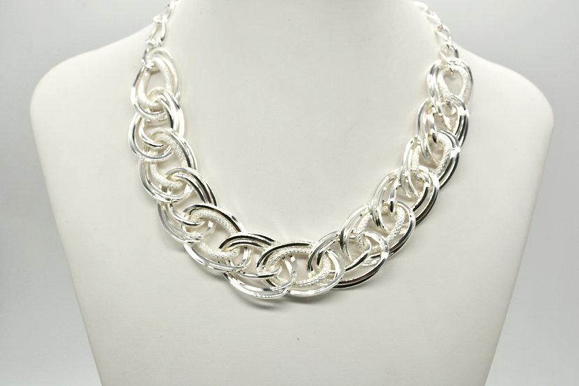Brass Intrecciata diamantata Silver Collana