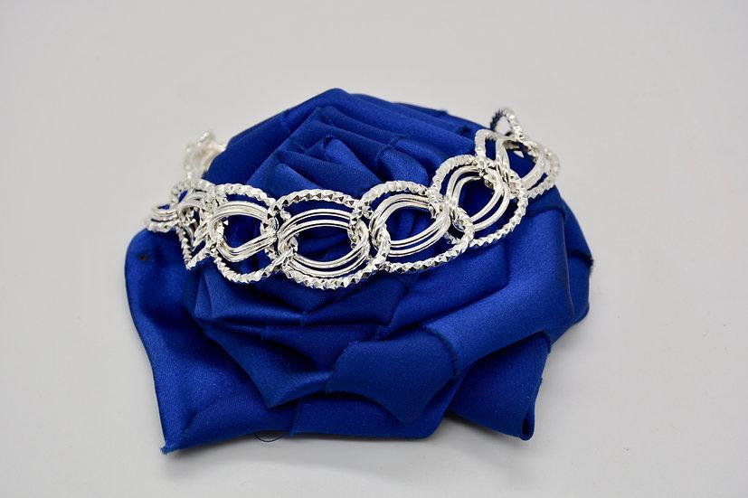 Brass Diamantata Ovale Silver Bracciale