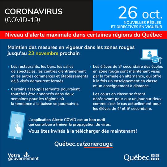 Infographie covid 19 du 26 octobre 2020.