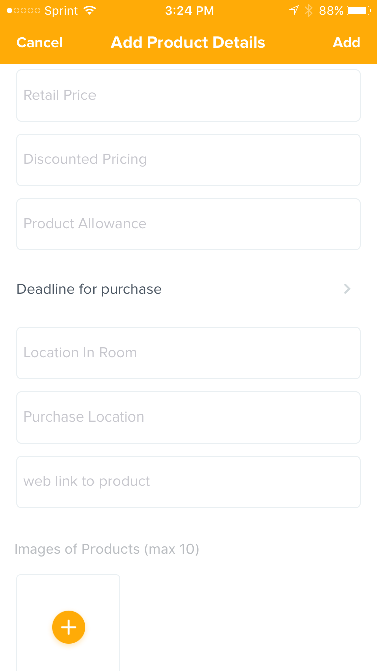 "Scroll down the detail fields until you get to ""Deadline for purchase,"" then tap on it and add the date"