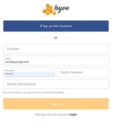 hyveapp social login