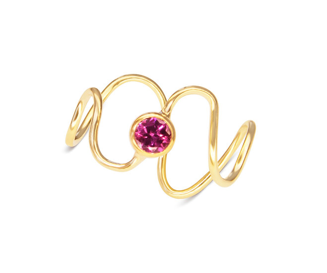 SQUIGGLE RING, BABY MOZAMBIQUE GARNET