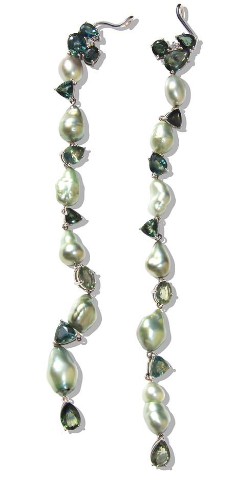 Mint Green Tahitian Baroque Pearls & Bi-Color Sapphires, Extra Long Cuff Earrings