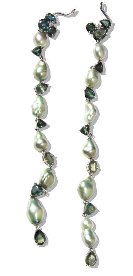 Mint Green Tahitian Baroque Pearls & Bi-Color Sapphires, Extra Long Cuff Earrings