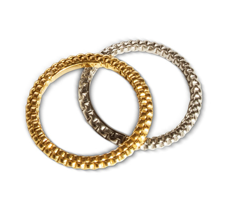 Mens Stack Woven Bands, 18K Yellow & White Gold