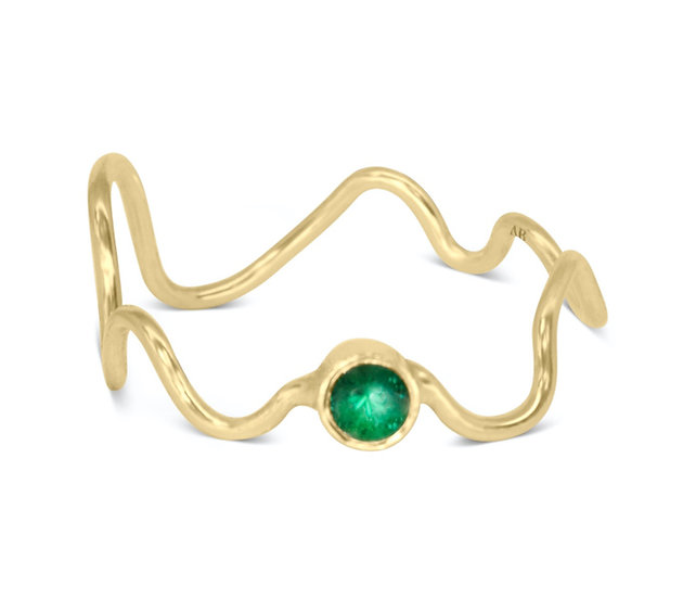 SQUIGGLE RING, BABY, EMERALD