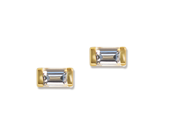DART EARRING, CRADLE DIAMOND STUD