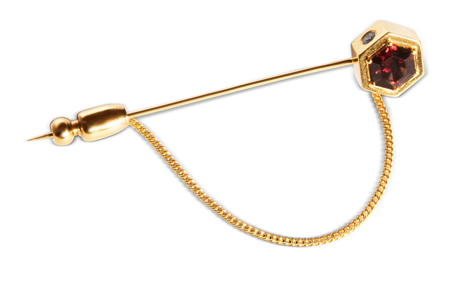 Garnet & Diamond Lapel Pin