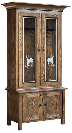 Genuine Oak gun cab with glass and doors