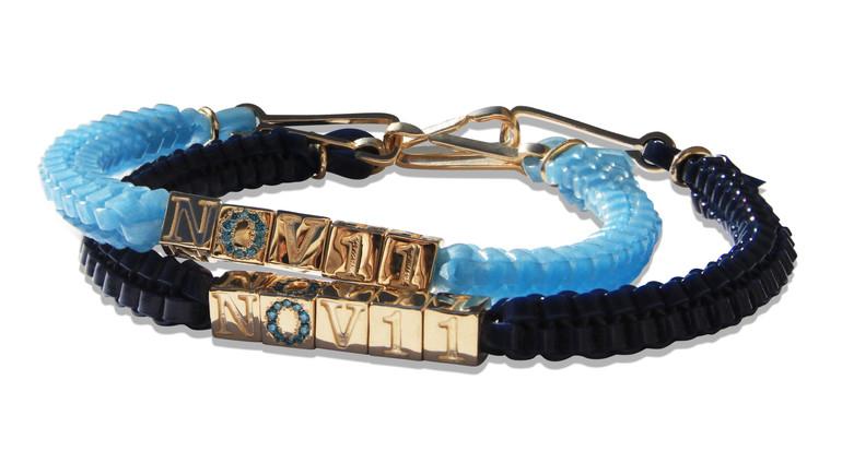Custom Camp Bracelets w Blue Diamonds
