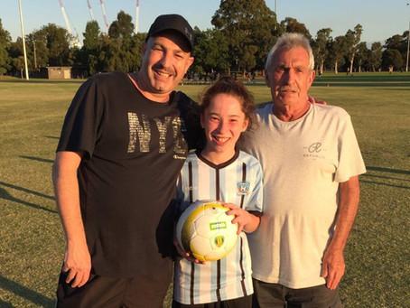 Three generations at Maccabi FC and still playing.