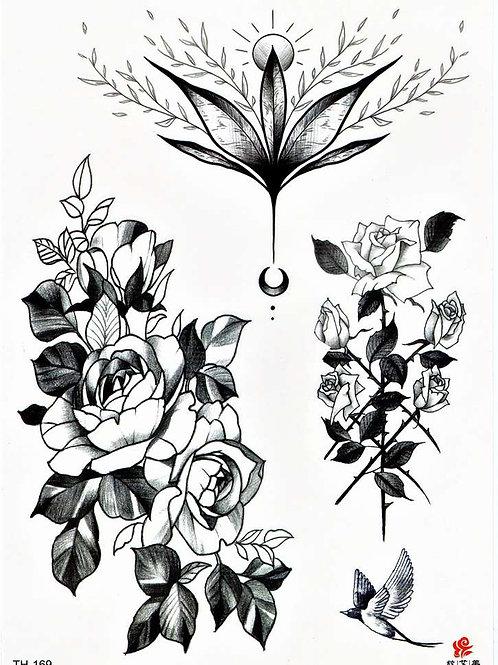 Blumen schwarz weiss, fein