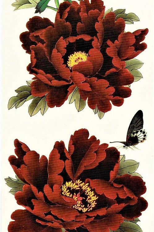 Blumen rot mit Schmetterling