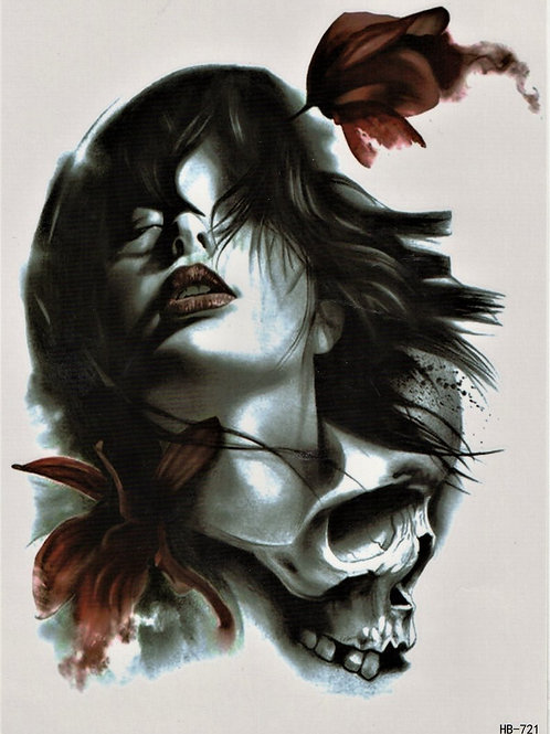 Frau Totenkopf schwarz, rot