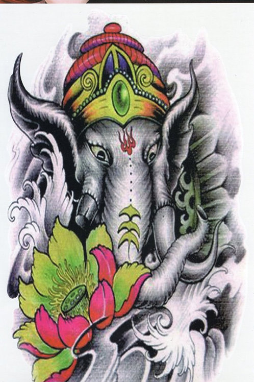 Thai Elefant mit Bunt Blume, Krone