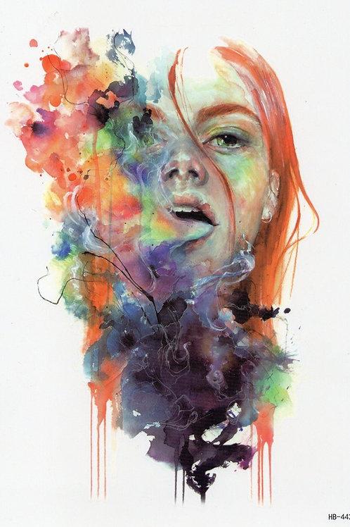 Aquarell Frau colour aus Mund